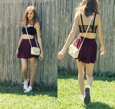 Brandy Melville Caged Back Crop Top, Brandy Melville Skirt, Converse White High Tops, Forever 21 Purse