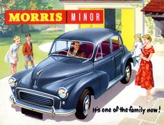 I drove a Morris Minor my senior year of high school. Loved that car. Morris Minor, Classic Motors, Classic Cars, Vintage Advertisements, Vintage Ads, Art Deco Car, Automobile, Old Fords, Car Advertising