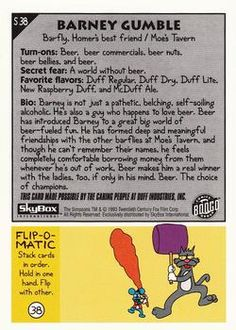 1993 SkyBox the Simpsons #S38 Barney Gumble Back