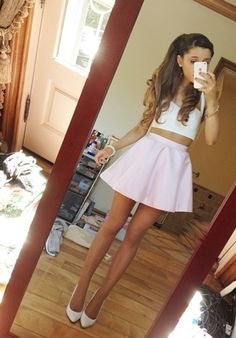 Arianna Grande! She has the best body ever! I wish I had her legs and arms and waist! So pretty!