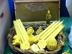 beeswax candles in a basket