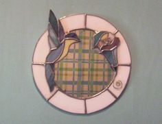 stained glass mirror-humming bird with flower