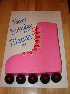"Rollerskate Cake - Rollerskate cake for my daughter Megan's 9th birthday party with her friends... she's having a rollerskating party, so she decided to ""keep the cake simple"". lol"
