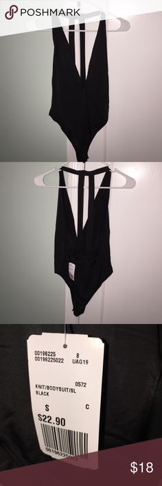F21 Black Plunge-neck Bodysuit ♡ Forever21 black bodysuit with plunging neck-line and strappy open-back. Super cute & sexy but too revealing for me. New with tags, so no damages. Make an offer! ♡ Forever 21 Tops Tank Tops