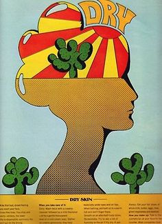 Milton Glaser, editorial artwork about skin conditions for Seventeen magazine, 1971.
