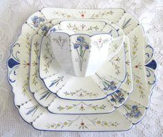 Vintage 4 Piece Shelley Blue Iris Tea Set Queen by TheWhistlingMan