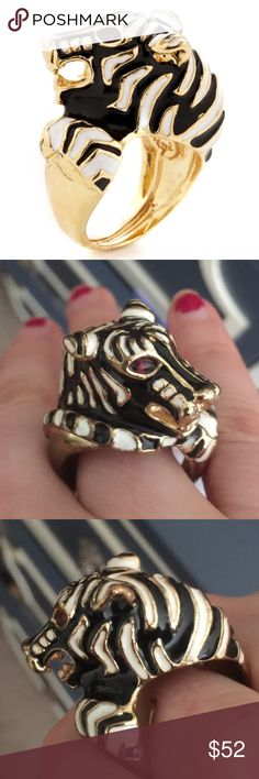 "SALE🙌🙌SO FEROSH Kenneth Jay Lane PANTHER Ring! FIERCE Panther ring by Kenneth Jay Lane, in pristine condition!!! Ring is adjustable (see pics for adjustable inner tab) and should fit most ring sizes! This baby is 22k yellow-gold plated base metal, with gorg panther-shape. Panther is white/black (maybe it's actually a tiger? Idk it's called a panther ring💁) with RED jewel eyes. Ring is enamel w resin details. Ring is 1"" long and 3/4"" at its widest point. Apologies, no box-lost in a move…"