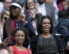 First Lady Michelle Obama, Venus Williams, and former gymnast Dominique Dawes watch Serena Williams win on Centre Court in Round 1 of London's Olympic Tennis..