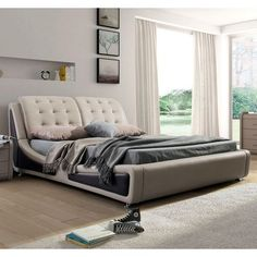 CA King Light Brown Tan Faux Leather Upholstered Bed with Headboard