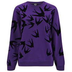 McQ Alexander McQueen Women's Classic Birds Sweatshirt - Fig With... ($310) ❤ liked on Polyvore featuring tops, hoodies, sweatshirts, sweaters, shirts, purple, crew shirt, crew neck shirt, print shirts and purple crew neck sweatshirt