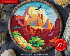 Zion National Park Cross Stitch Design for Instant Download *P468 | Lovely Cross Stitch| Room Decor| Needlecraft Pattern