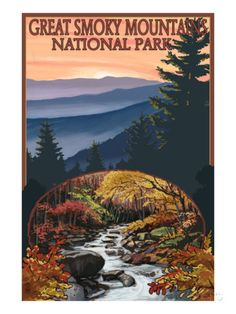 Great Smoky Mountains - Waterfall, c.2009 Prints by Lantern Press at AllPosters.com