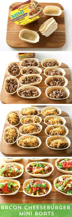 Need a fantastic party snack, or a fun way to jazz up family dinner? Try these Bacon Cheeseburger Mini Boats from @GirlWhoAte! They're everything you love about bacon cheeseburgers - without the soggy bun! The Mini Taco Boats make for perfect two-bite portions, and make it easy to customize your taco just the way you like!
