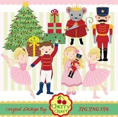 Cascanueces Ballet gráfico digital set  Navidad por Cherryclipart