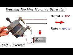 Self Excited - Make Generator from Washing Machine Universal Motor Motor Generator, Portable Generator, Washing Machine Motor, Universal Motor, Welding Machine, Energy Projects, Sustainable Energy, Alternative Energy, Electric Motor