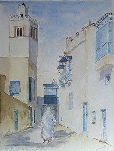 "Vue de ""Sidi Bou Said"" - Aquarelle #Tunisie"