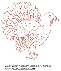 Free Hand Embroidery Pattern: Turkey ... gobble, gobble!  :)
