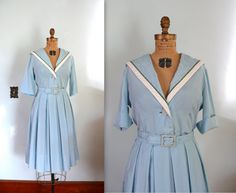 vintage 1950s Dress  / Pale Blue Sailor Dress by AdelaideHomesewn, $114.00
