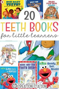 Teaching a teeth unit is an important one. There are many different ways you can explore this unit with your students. These books help to teach kids about germs, their teeth and going to the dentist. Read these books to your students or put them in the classroom or homeschool library and let your little learners look at them themselves. Here are 20 teeth books to help you get started on your teeth unit today. #teeth #books #booksforkids #unitstudy #library #classroom #homeschool
