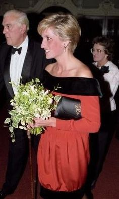 "September 24, 1990:  Princess Diana arriving at the Aldwych Theatre with Marmaduke Hussey for the gala performance of ""Private Lives"".:"