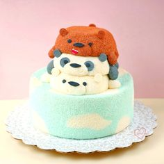 Loving Creations for You: We Bare Bears Chiffon Cake Pretty Birthday Cakes, Pretty Cakes, Cute Cakes, Yummy Cakes, We Bare Bears, Baby Boy Christening Cake, Bolo Chiffon, Icebox Cake Recipes, Cute Baking