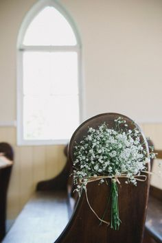 Baby's breath on end of each pew - Mount Tamborine Wedding at The Old Church from Scout & Charm- Thanks LBA:)