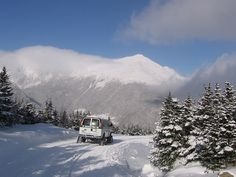 Snow Coach, with view of Mt. Adams in the distance (via Mt. Washington Auto Road).