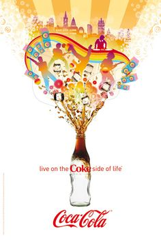 The Coke Side of Life Art Gallery ‹ Acid Design Coca Cola Poster, Coca Cola Ad, World Of Coca Cola, Pepsi, Art Design, Graphic Design, Pop Art, Sharpie, Vintage Advertisements