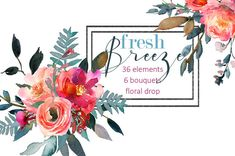 These beautiful hand painted watercolor floral elements and bouquets clipart…