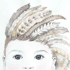 ARCHER Close up  #mum #mumlife #watercolour #portrait #baby #bespoke #painting #australianartist #decor #kids #kidsdecor #kidsroom #kidsroomdecor #warrnambool #instakids #kidsstyle #style #interior #interiordesign #modern #scandi #boys #boysroom #feathers #monochrome #headdress #tribal #neutral #wallart #kidsprints by littlefelixdesign
