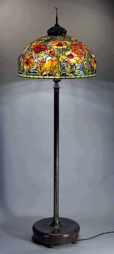 "The 26"" Oriental Poppy Tiffany Floor lamp (gold) by Dr. Grotepass Studios"