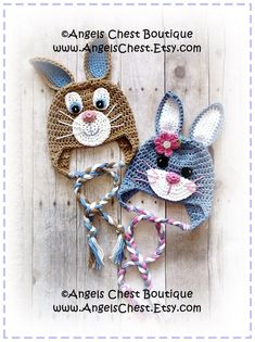 Cute Crochet Rabbit Bunny Beanie Earflap Hat PDF Pattern Sizes Newborn to Adult Boutique Design - No. 59 by AngelsChest. $6.99, via Etsy.