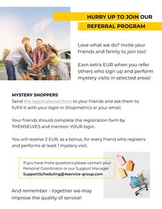 Do you enjoy Mystery shopping?  Join our big team and bring your friends to receive nice bonuses!