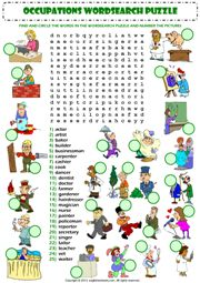 jobs occupations professions wordsearch puzzle vocabulary worksheet icon