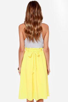 Canary Yellow Skirt via Lulus.com.   ♡.¸¸¸.•°´♡ Gorgeous~!•*´¨`*•.•*