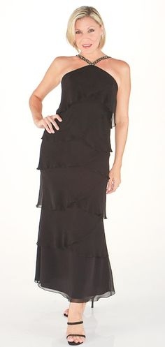 Daymor Couture Chevron Layered Halter Gown in Black