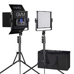 Amazon.com : LED Video Light GVM 672S CRI97+ TLCI97+ 18500lux Dimmable Bi-color 3200K-5600K Video Light For Outdoor Interview Studio Portrait Photographic Panel Lighting And Stand Kit : Camera & Photo