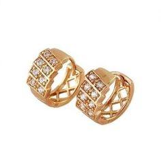 Elegant 18K Gold Plated Lab Diamond Ladies Huggie Style Hoop Earrings