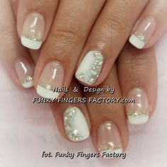 Gelish French manicure with Aurora Borealis Swarovski crystals by www.funkyfinge… Gelish French manicure with Aurora Borealis Swarovski crystals by www. Prom Nails, Bling Nails, Bridal Nails, Wedding Nails, Nail Polish Designs, Nail Art Designs, Cute Nails, Pretty Nails, Shellac Nails