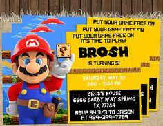 Super Mario Invitation Super Mario Birthday Party