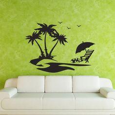 Wall Decal Decor Decals Sticker Palm Island Sunset Ocean Chaise-longue Umbrella Sun Landscape Sailfish Butterflies (M246) DecorWallDecals http://www.amazon.com/dp/B00FWKB0AM/ref=cm_sw_r_pi_dp_RhmYub0SRV9BJ