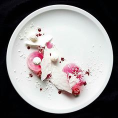 Raspberry gelee  white chocolate truffles  vanilla meringue  coconut  by @whistler_personalchef  Tag your best plating pictures with #armyofchefs to get featured.   #raspberry #white #chocolate #truffle  #truffles  #vanilla #meringue #plating #chefs