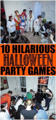 10 fun Halloween party games that are perfect for kids for teens or even for adults! Great ideas that can be played in the classroom indoor or even at an outdoor party! And best of all the ideas are easy cheap and not too scary. I love the idea of Halloween Party Games, Halloween Tags, Halloween Designs, Casa Halloween, Adornos Halloween, Hallowen Costume, Halloween Food For Party, Halloween Birthday, Holidays Halloween