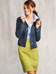 Talbots - cute skirt with a casual denim jacket. Love the colors.