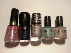 Revlon: Girly, NYC: Ink Stain, Gosh: Holographic Hero, Claire's: and Swatched one hand. Nail Polish Sale, Sale Uk, Revlon, Holographic, Girly, Lipstick, Nails, Beauty, Women's