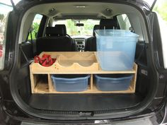 Project / Problem: After moving to Puerto Rico and resuming my SCUBA diving, I needed a better way to organize gear in the car for transport to/from the dive sites. Solution: I designed this cubby that holds up to 6 SCUBA tanks (the red webbing secures them) and enough gear for three divers. The plastic bins keep sand and water from getting all over the car, and the rack keeps the tanks safe during transport. Green / Sustainable Elements: The rack itself is built from leftover plywoo...