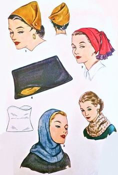 1950s EYE CATCHING  Set of Hats, Bag Hood Cowl Drape Scarf Pattern Simplicity 4506 Fab  2  Hat Styles Lovely Draped Hood, Clutch Purse One Size Vintage Sewing Pattern