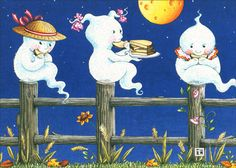 Ghosts on Fence (1 card/1 envelope) Mary Engelbreit Halloween Card - FRONT: No Text  INSIDE: Halloween! It's All About The Treats
