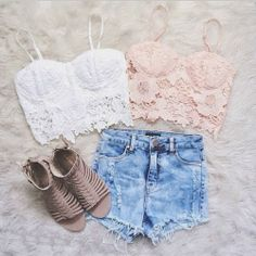 Gorgeous denim shorts with top white lace and pink lace blouse and brown leather stripes sandals the best summer outfits