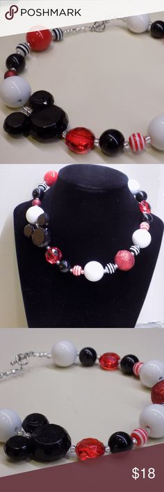 """Mickey Mouse toddler bubblegum necklace Super cute red, black, and white bubblegum necklace in true Mickey fashion!  Perfect for a Disney girl pure to the heart.  This is made securely with jewelry beading wire and a toggle clasp.  Approximately 16"""" long to fit a 2-4 year old. Jewelry Necklaces"""